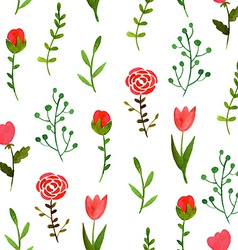 Watercolor floral seamless pattern vector image vector image
