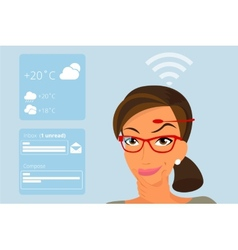 Woman using head-mounted hardware technologies vector image vector image
