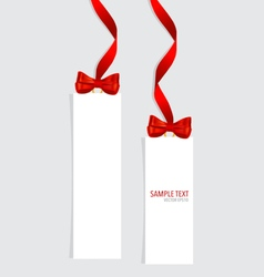 Cards with red gift bows and red ribbons vector image vector image