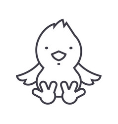 chick line icon sign on vector image