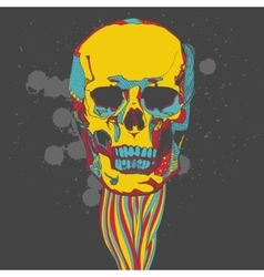 Colorful skull with ornament vector image vector image