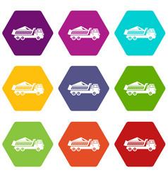 dump track icon set color hexahedron vector image
