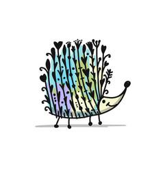 floral hedgehog logo set for your design vector image