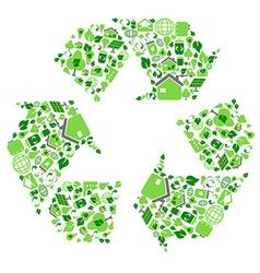 green eco recycling symbol vector image