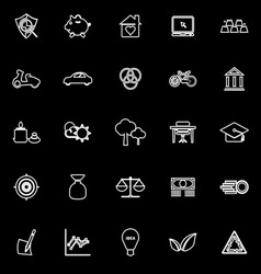 Sufficient economy line icons on black background vector image vector image