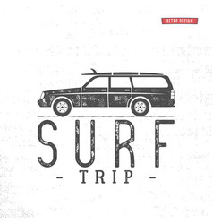 surf trip concept summer surfing retro vector image