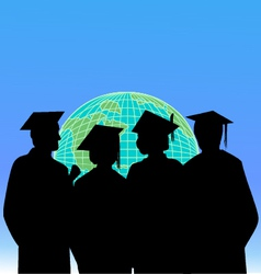 graduates and the world vector image vector image