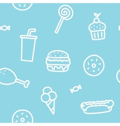 Junk food blue seamless pattern vector image vector image