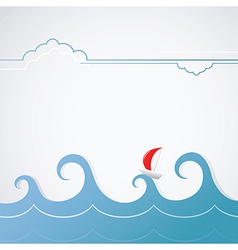 Ocean view with boat vector image