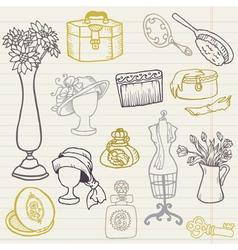 Set of Fashion Hand drawn Doodles vector image vector image