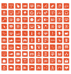 100 internet icons set grunge orange vector image