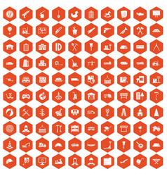 100 lorry icons hexagon orange vector