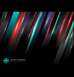 Abstract technology striped oblique blue red vector