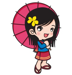 Asia girl smiling with umbrella vector
