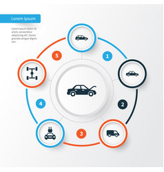 Automobile icons set collection of truck plug vector