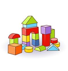 Babys letter cubes toys wooden or plastic color vector