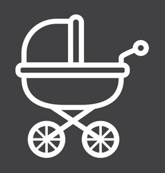Bacarriage line icon pram and pushchair vector