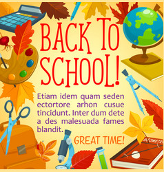 back to school poster with frame of study supplies vector image