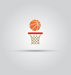 ball and basketball hoop sign vector image