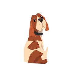 beagle dog sitting and looking back cute funny vector image