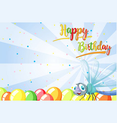 birthday card template with dragonfly vector image