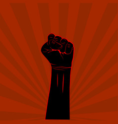 black hand with fist raised up on red background vector image