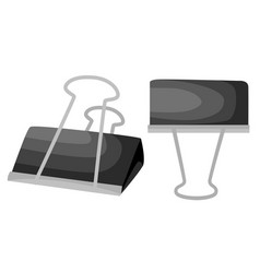 black paper clip isolated on white web site page vector image