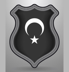 Black turkish flag with white crescent and star vector