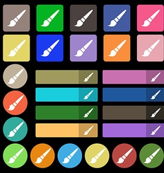 brush icon sign Set from twenty seven multicolored vector image