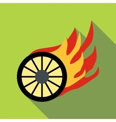 Burning wheel icon flat style vector
