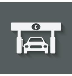 Car at gas station vector