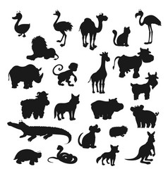 cartoon animals isolated black silhouettes vector image