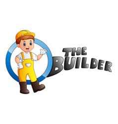 Cartoon builder man vector