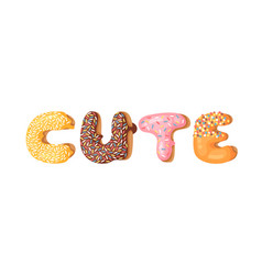 cartoon donut and word cute vector image