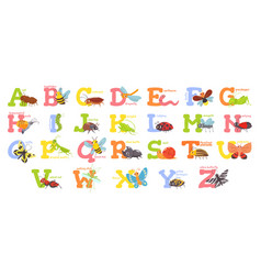 cartoon insects alphabet funny bug letters comic vector image