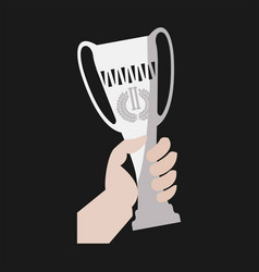Champion winner cup award in hand flat icon vector