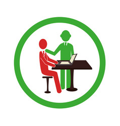 Circular border worker with boss in office vector