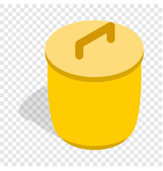 closed yellow trash can isometric icon vector image