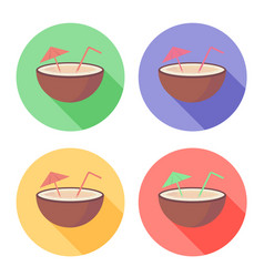 coconut fruit with straw and umbrella on circle vector image