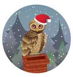 Cute Christmas Owl vector image