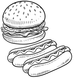 doodle burger hotdog vector image
