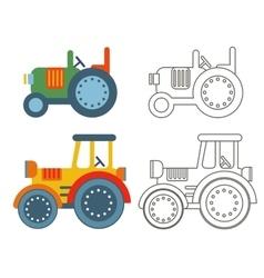 Doodle retro agricultural tractors vector