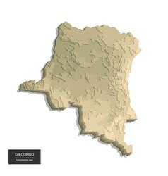 Dr congo map - 3d digital high-altitude vector