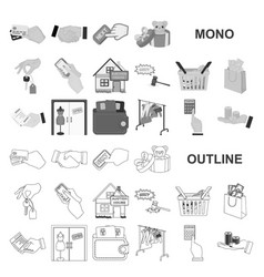 E-commerce and business monochrom icons in set vector