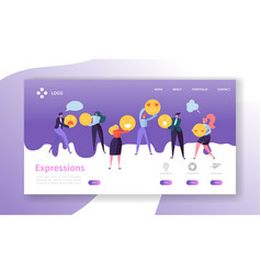 emoticons landing page team work concept people vector image