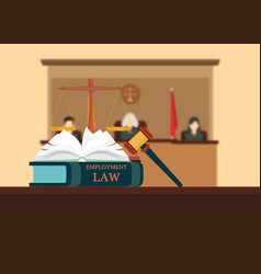 Employment law books with a judges gavel vector