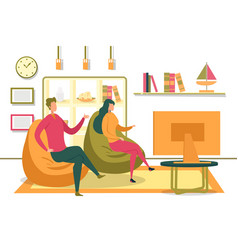 family or friends couple watching tv in room vector image