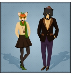Fashion hipster animals couple vector