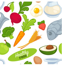 food organic and healthy products seamless pattern vector image