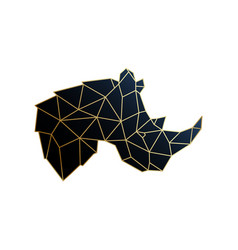 geometric rhino golden polygonal vector image